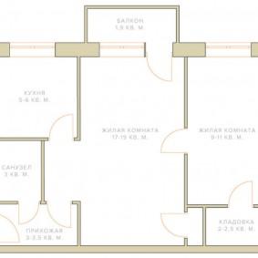 Схема типовой 2 комнатной хрущевки
