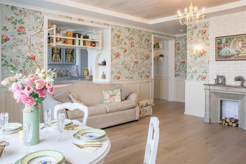 Обои в цветок в квартире прованского стиля