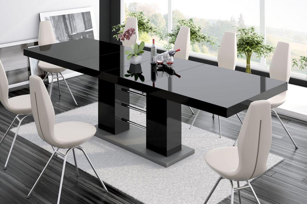 Черный раздвижной стол прямоугольной формы