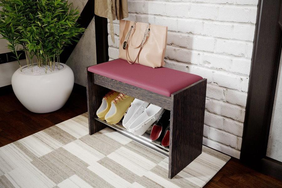 Пуф-скамейка с полочкой для летней обуви