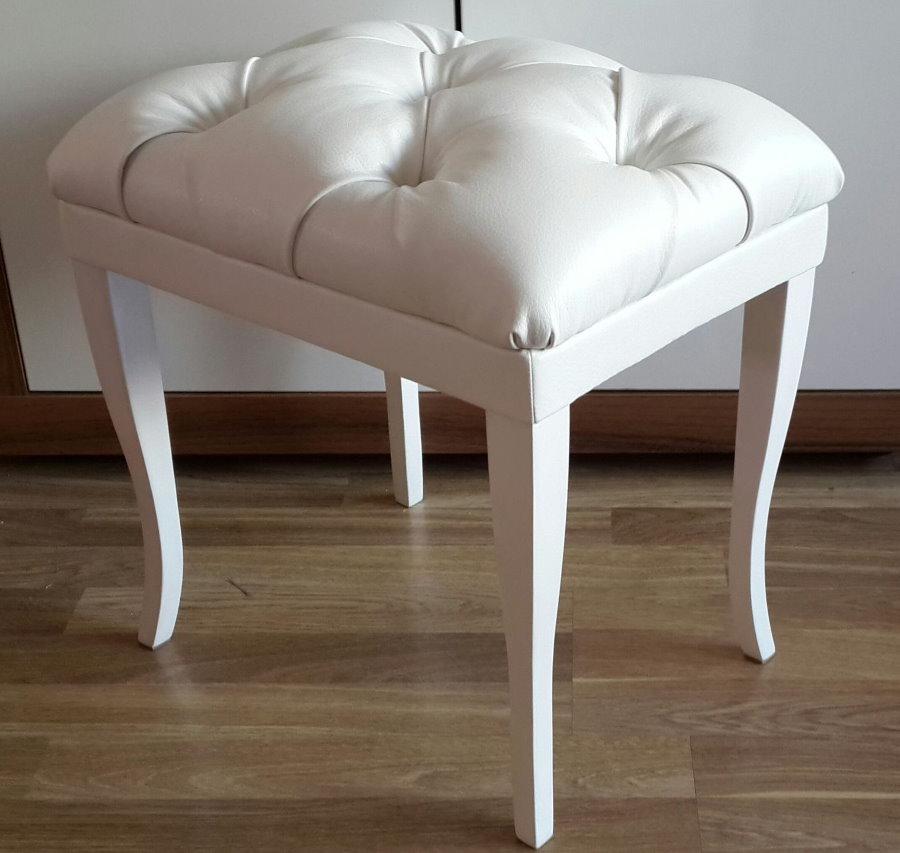 Пуф-стул с кожаной обивкой белого цвета