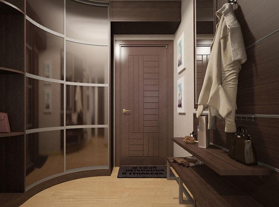 Интерьер коридора с радиусным шкафом