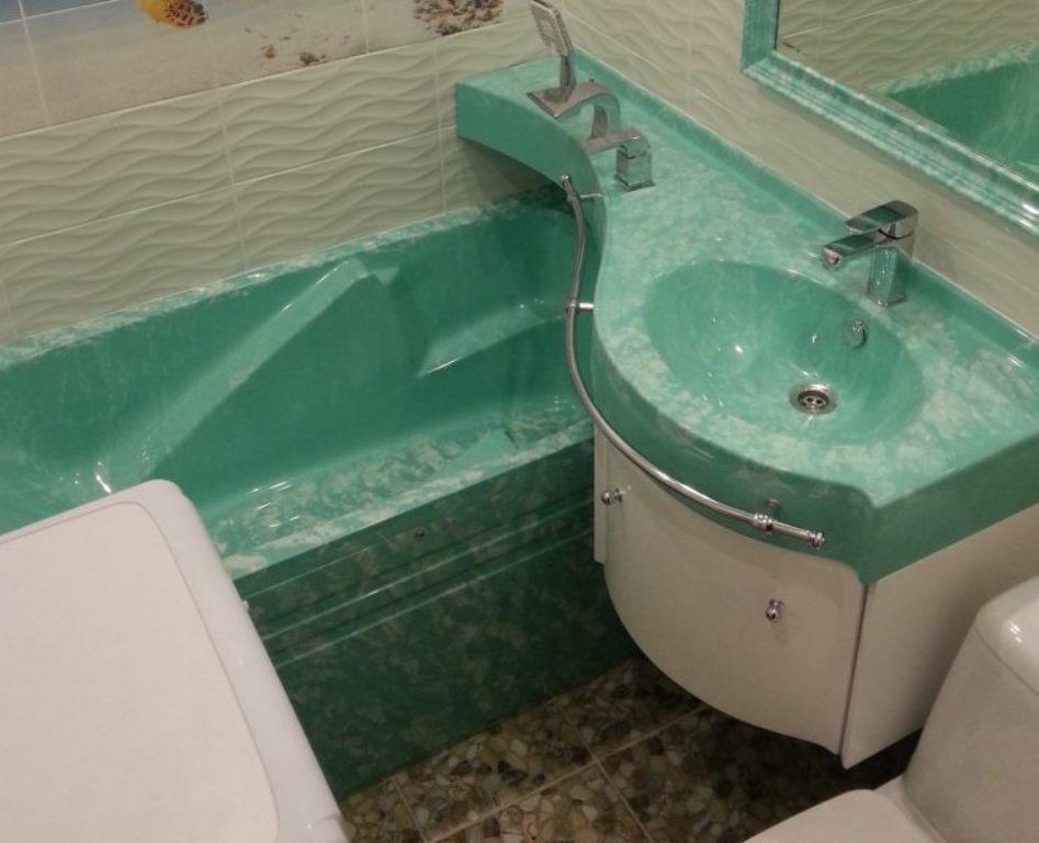 раковина над ванной зеленая