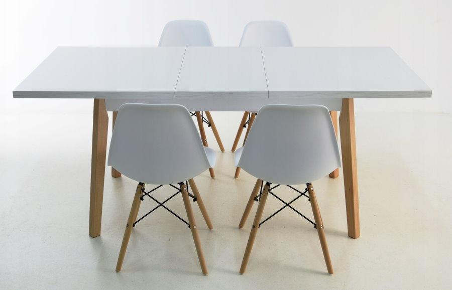 Белый раскладной стол в скандинавском стиле