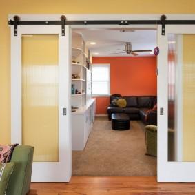 Стеклянные вставки на створках раздвижной двери