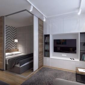 Зонирование раздвижными перегородками квартиры студии