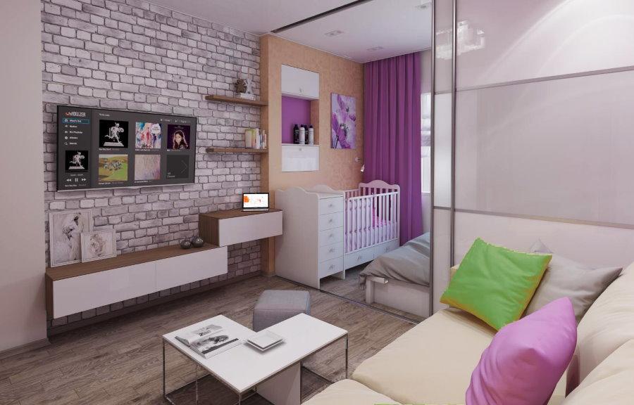 Зонирование квартиры посредством раздвижной перегородки