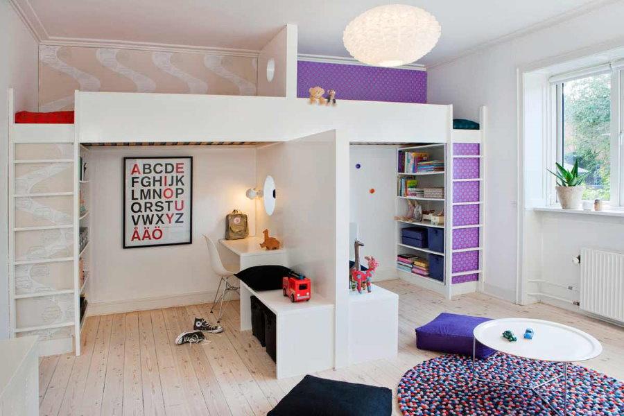 Кровать чердак для двоих разнополых детей
