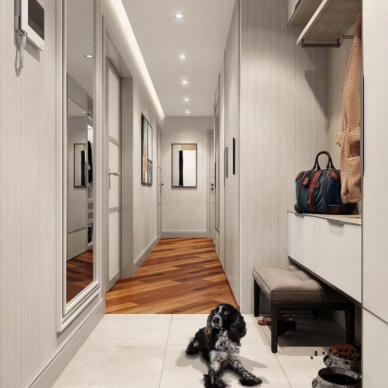 Собака не керамическом полу в прихожей квартиры