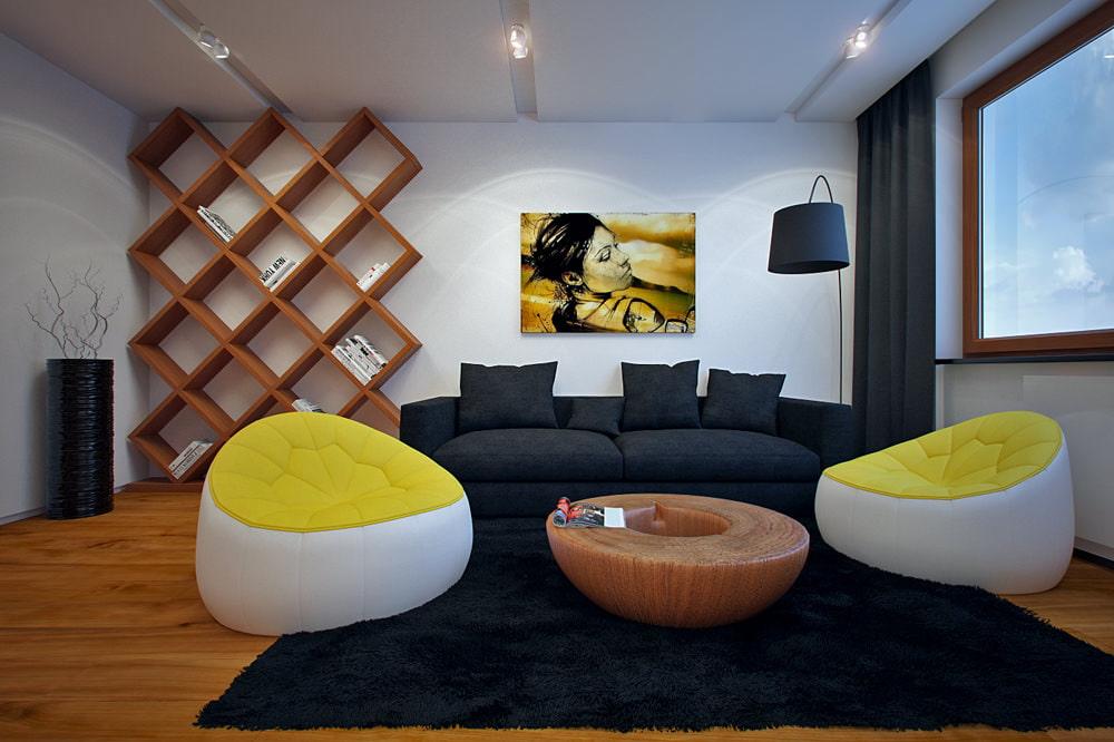 Бескаркасные кресла в гостиной современного стиля