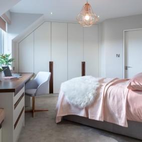 серо розовая спальня дизайн