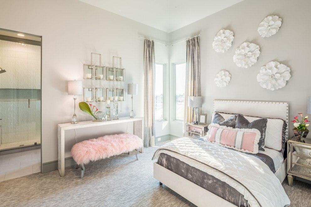 серо розовая спальня для девочки