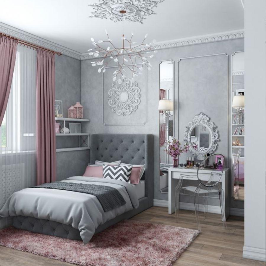 серо розовая спальня фото дизайна