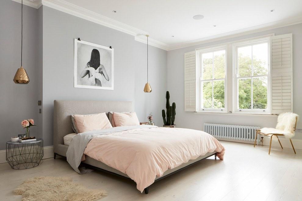 серо розовая спальня идеи фото
