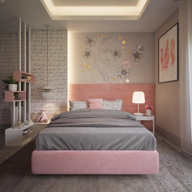 серо розовая спальня лофт