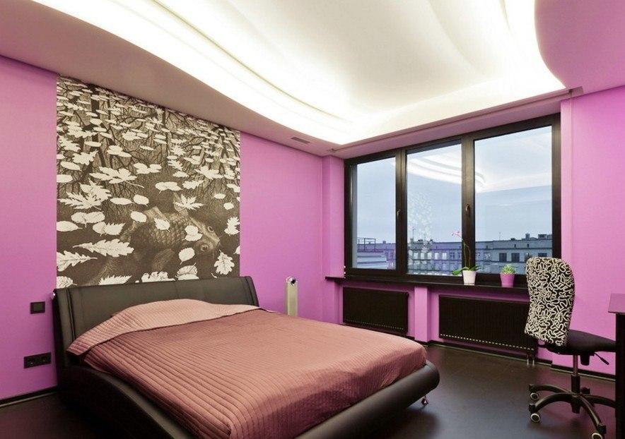 серо розовая спальня оформление