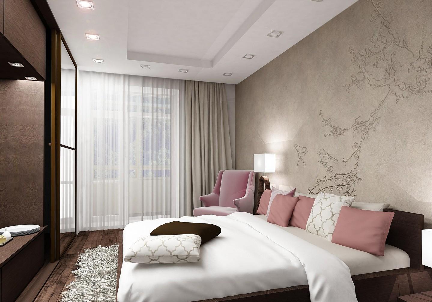 серо розовая спальня потолок