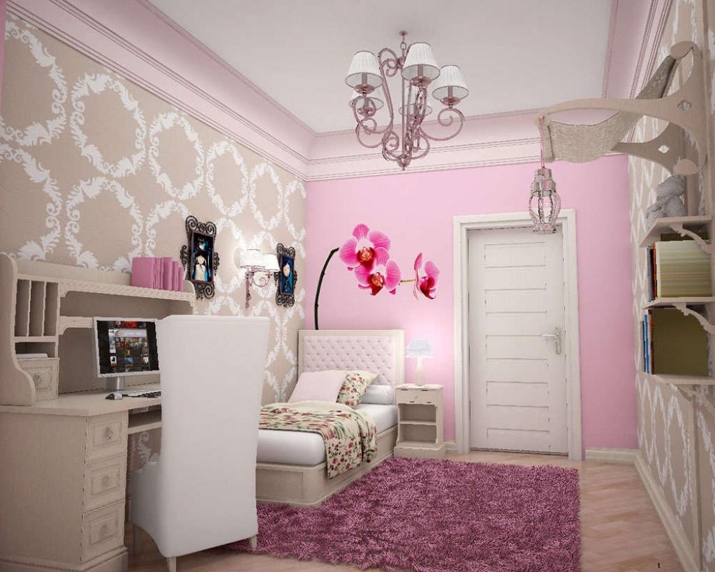 серо розовая спальня с бежевым