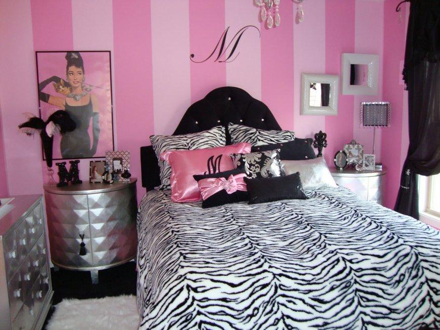 серо розовая спальня с черным