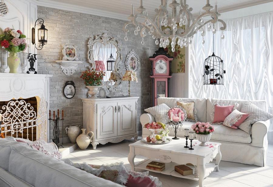 Уютная гостиная комната в стиле шебби