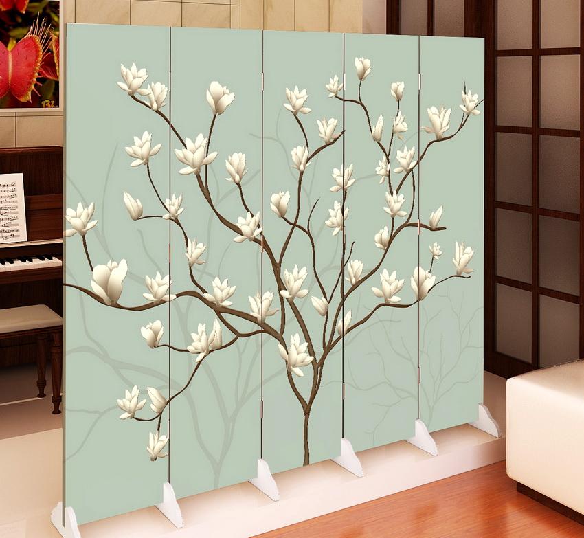 Ширма-экран с рисунком цветущего дерева