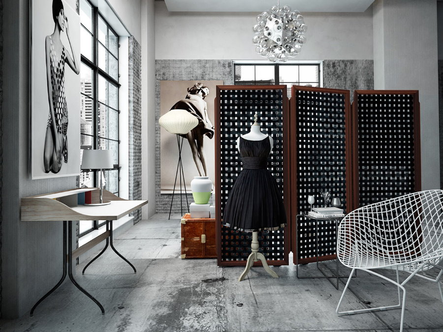 Стильная комната с ширмой складного типа
