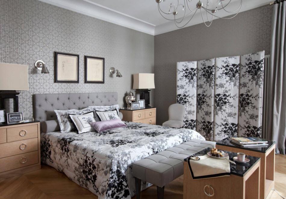 Подбор ширмы под текстиль в спальной комнате