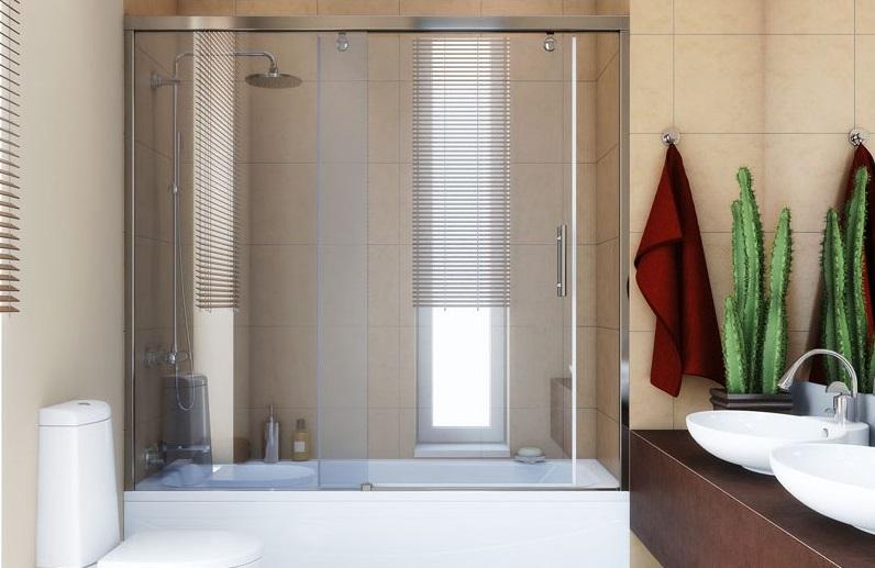 Стеклянная раздвижная ширма в ванной комнате
