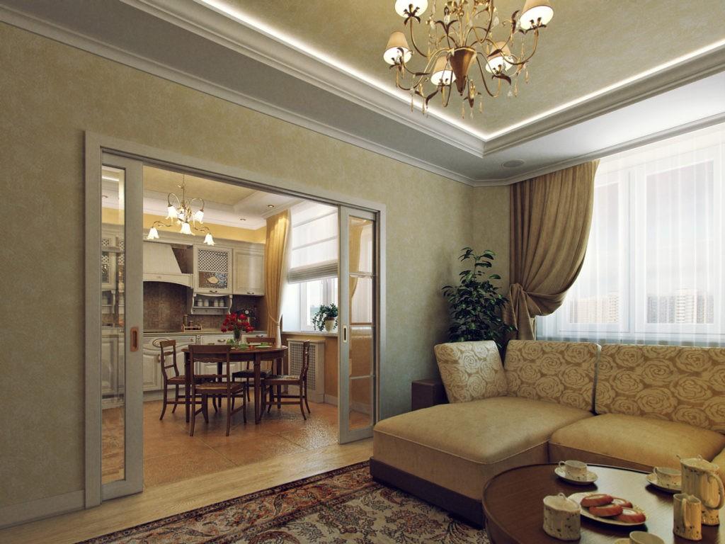 Широкий дверной проем между кухней и гостиной