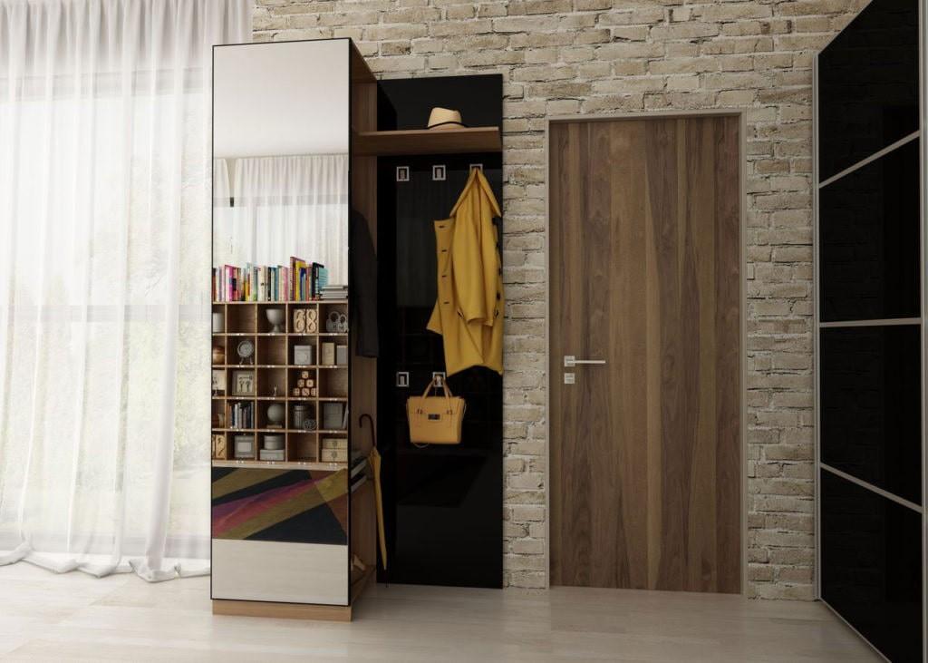 Шкаф-пенал в прихожей лофт стиля