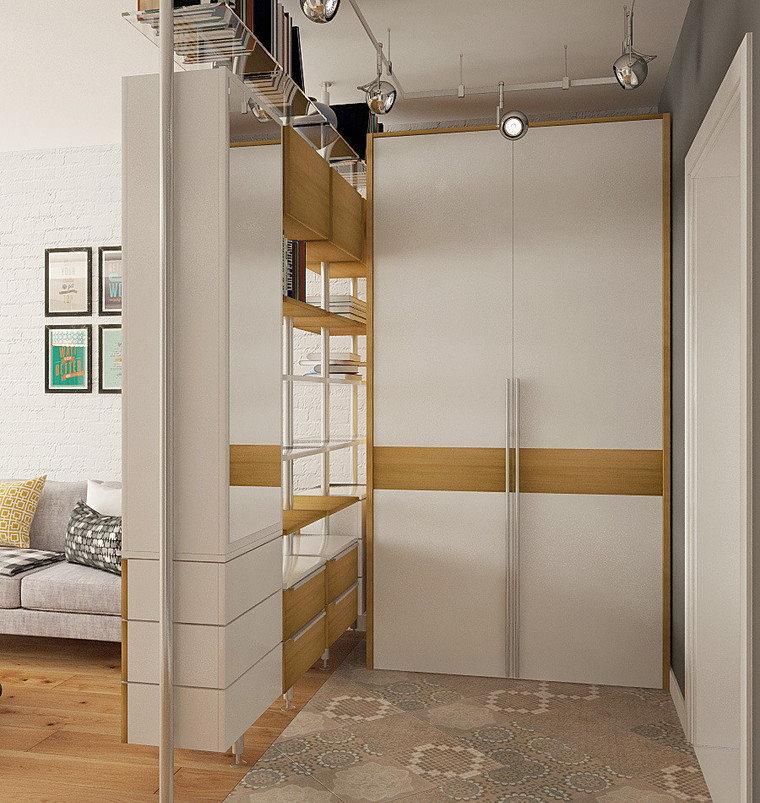 Зонирование квартиры с помощью угловой перегородки из мебели