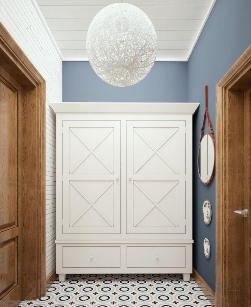 Белый шкаф в прихожей кантри стиля