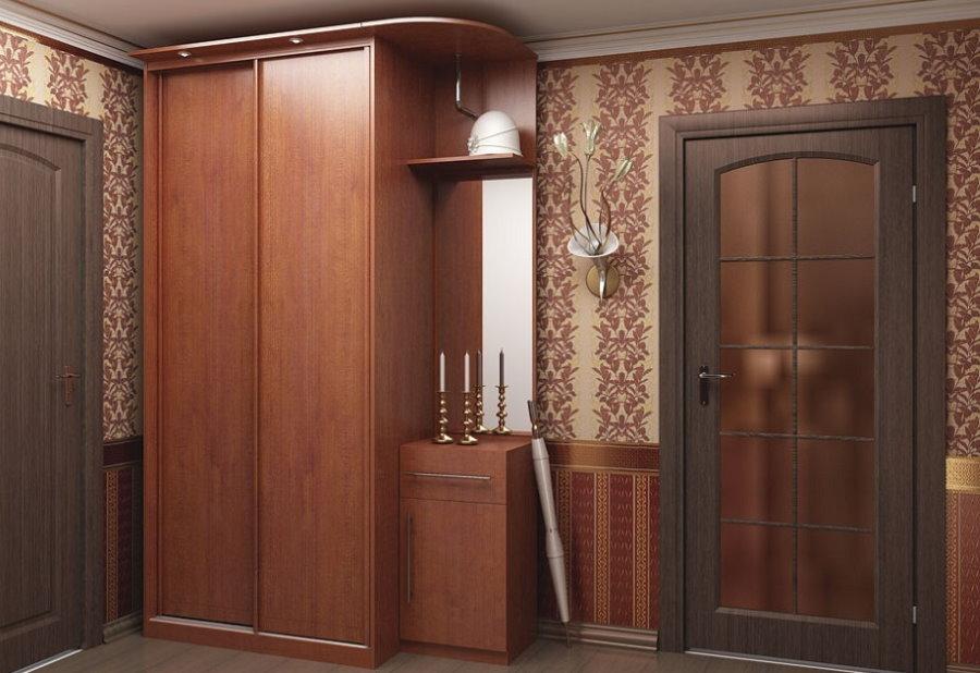 Компактный шкаф-купе из МДФ в маленьком коридоре