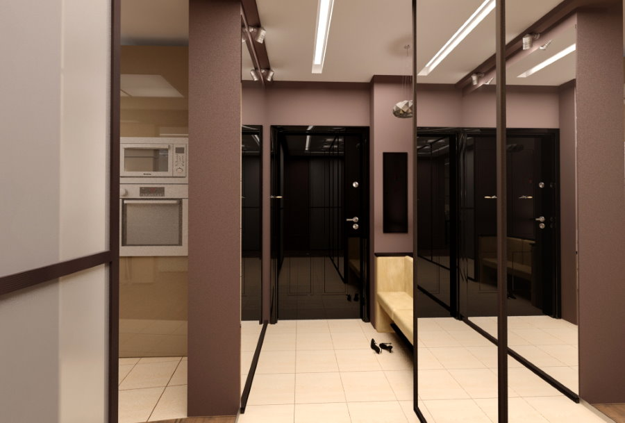 Зеркальный шкаф-купе в узком коридоре