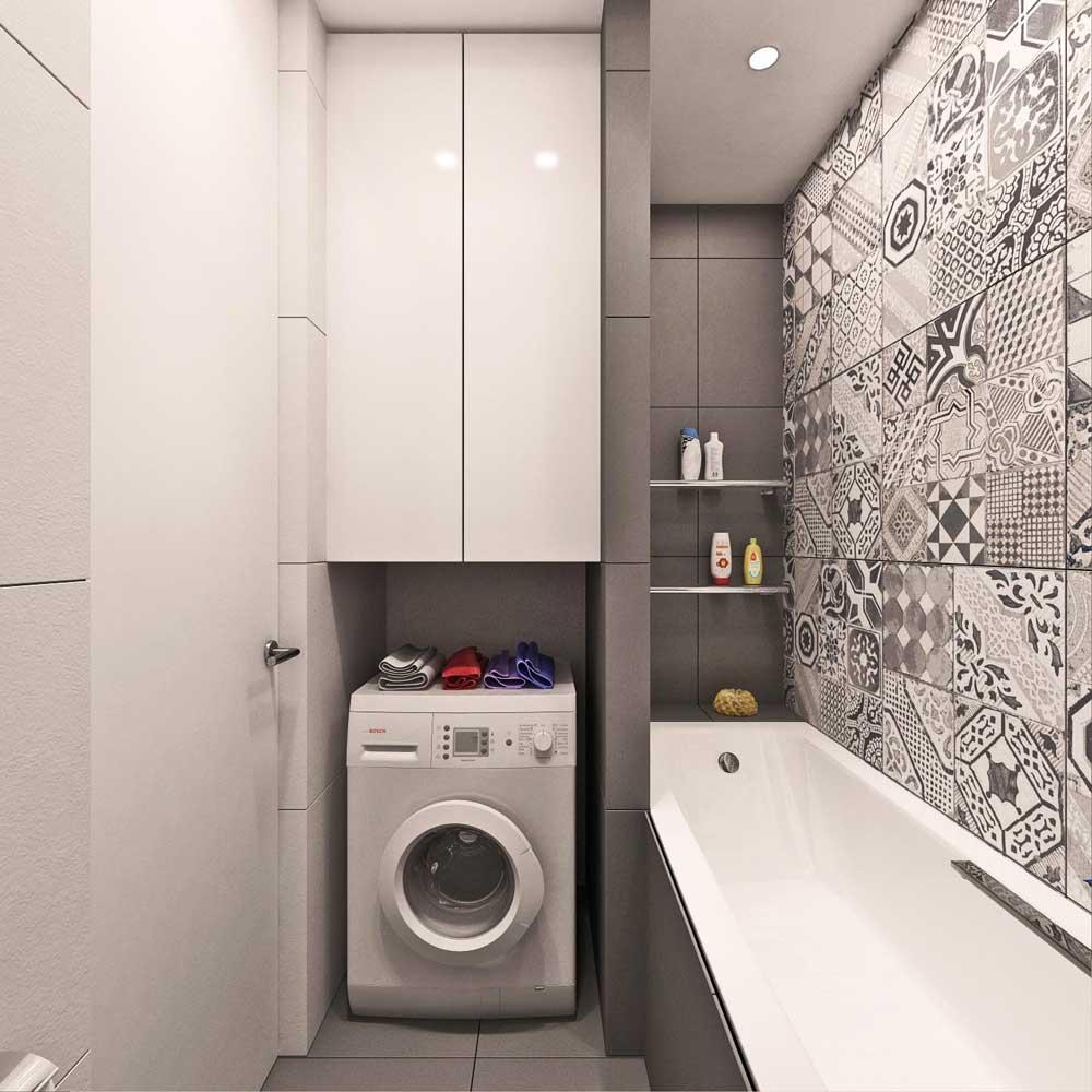 Шкафчик над стиральной машинкой в ванной