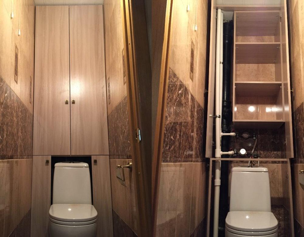 Шкафчики на задней стене туалета в однушке