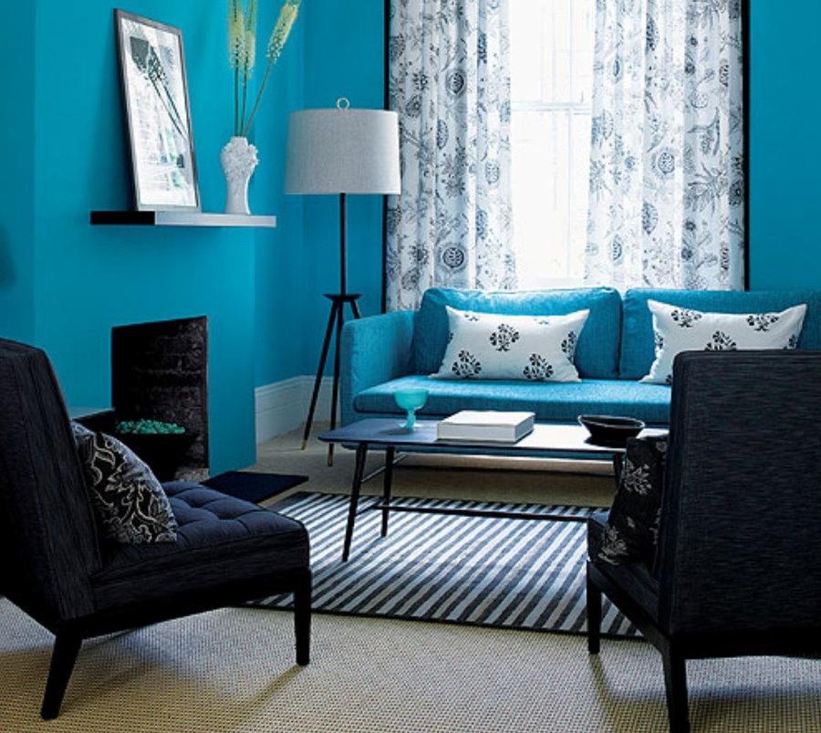 Синяя гостиная небольшого размера