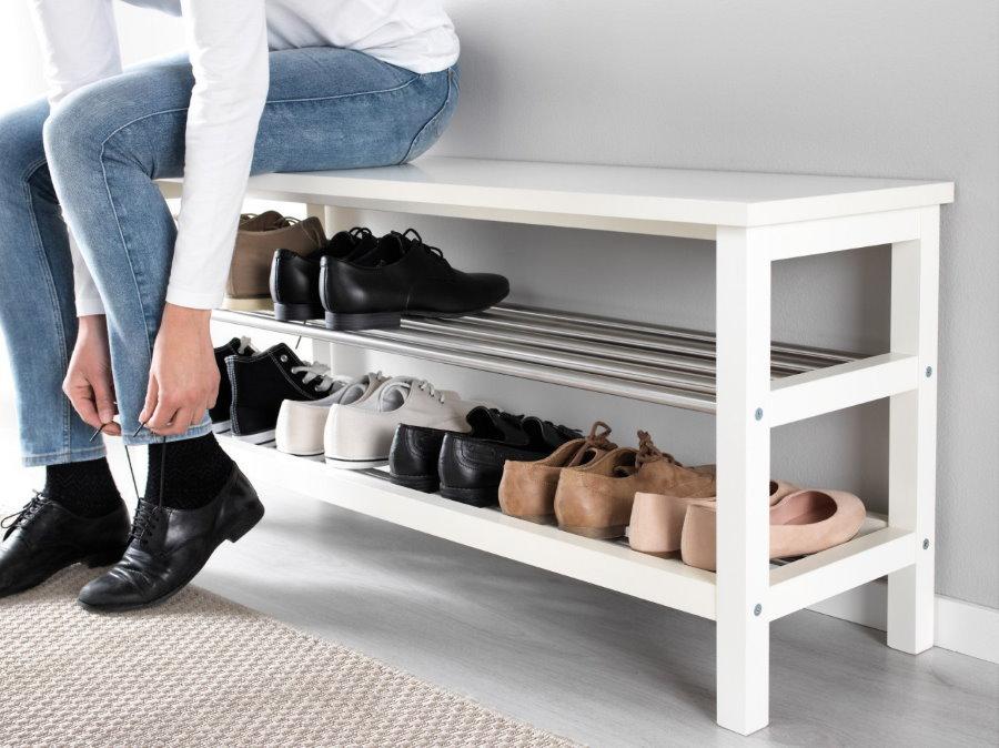 Деревянная напольная полка для обуви со скамьей