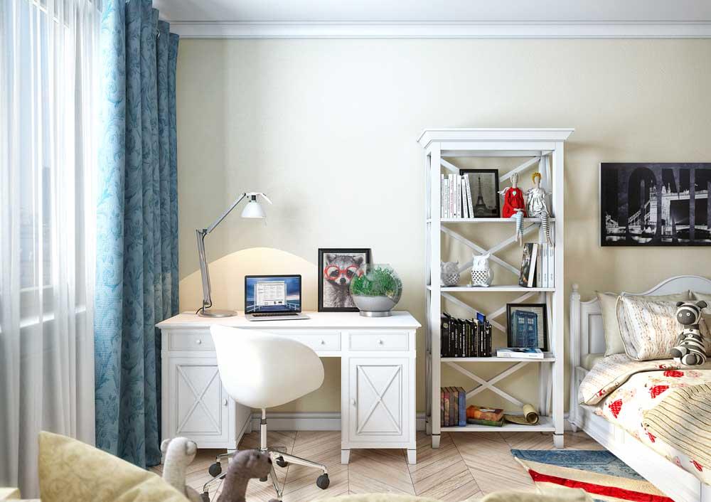 Светло-синие шторы в светлой детской комнате