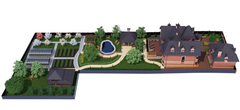 Схема размещения построек на участке Г-образной формы