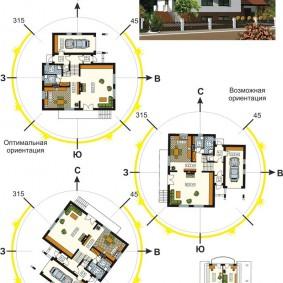 Схема расположения комнат в доме относительно сторон света