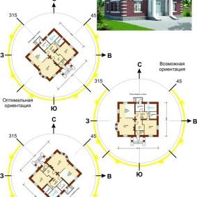 Ориентация жилых помещений внутри одноэтажного дома