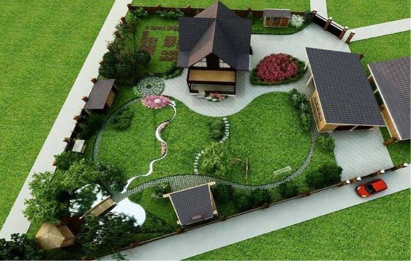 Дизайн-проект участка 10 соток с домом на заднем плане