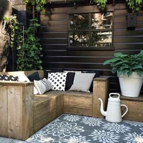 современная садовая скамья декор
