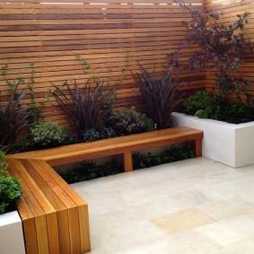 современная садовая скамья оформление фото