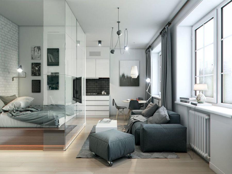 Спальная зона за стеклянной перегородкой в однушке