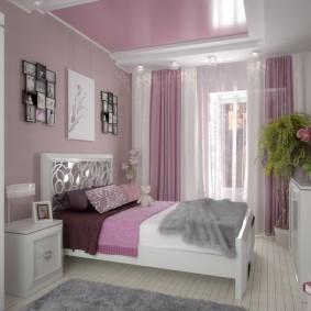 спальня в серо розовых тонах фото декор