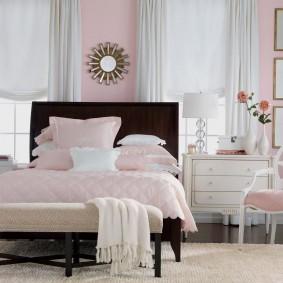спальня в серо розовых тонах фото декора
