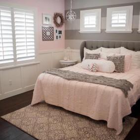 спальня в серо розовых тонах декор идеи