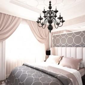 спальня в серо розовых тонах интерьер